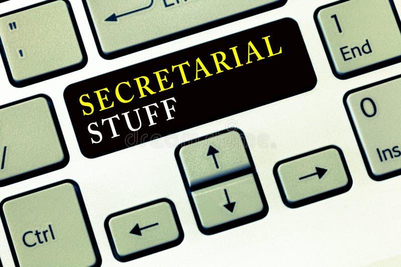 Note d'écriture montrant la substance de secrétariat Choses de présentation d'affaires de secrétaire de photo d'affaires possédée image stock