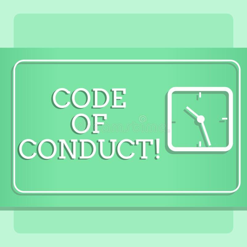 Note d'écriture montrant le code de conduite La présentation de photo d'affaires suivent des principes et des normes pour l'intég illustration de vecteur