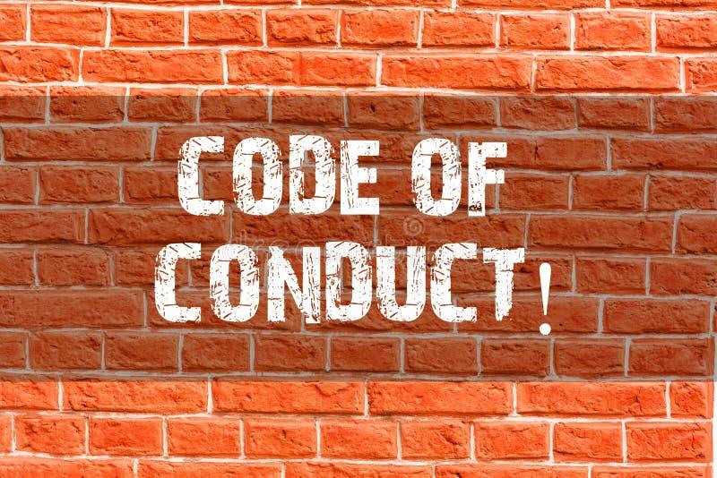 Note d'écriture montrant le code de conduite La présentation de photo d'affaires suivent des principes et des normes pour l'intég illustration stock