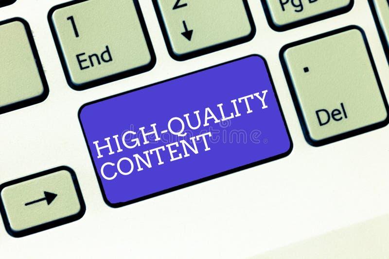 Note d'écriture montrant le contenu de haute qualité Le site Web de présentation de photo d'affaires est s'engager instructif uti photographie stock
