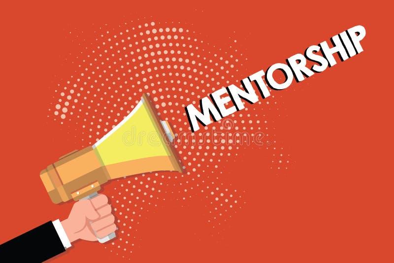 Note d'écriture montrant le Mentorship Les conseils de présentation de photo d'affaires fournis par un mentor ont éprouvé la conn illustration de vecteur