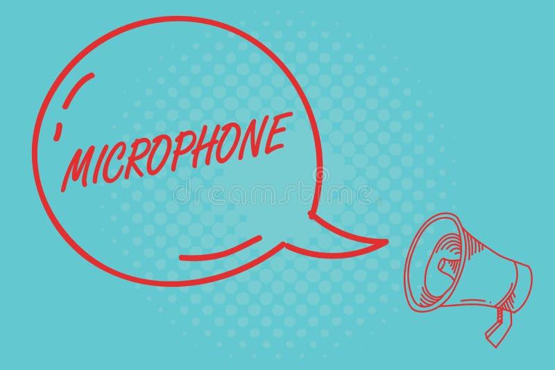 Note d'écriture montrant le microphone L'instrument de présentation de photo d'affaires pour convertir le bruit salue soit transm illustration de vecteur
