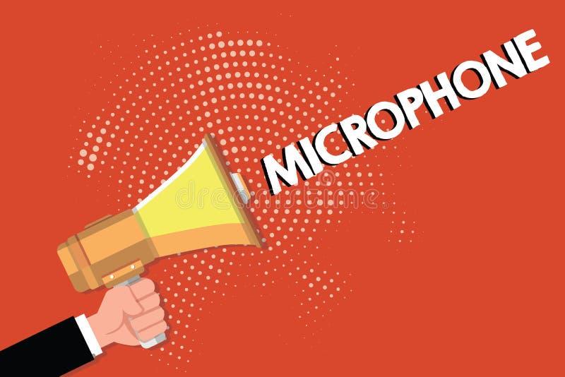 Note d'écriture montrant le microphone L'instrument de présentation de photo d'affaires pour convertir le bruit salue soit transm illustration stock