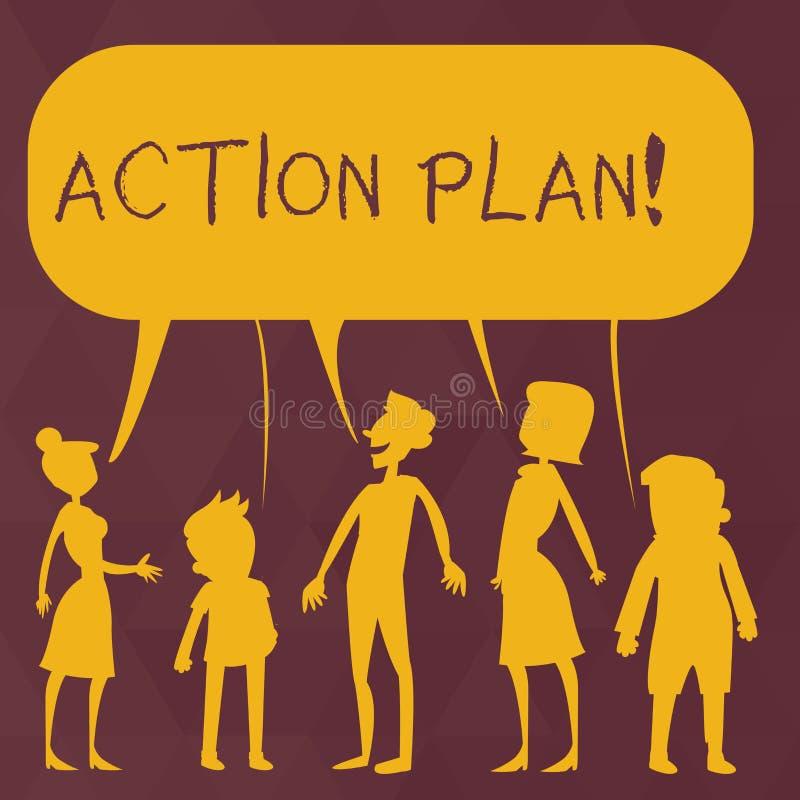 Note d'écriture montrant le plan d'action Photo d'affaires présentant la stratégie ou la ligne de conduite proposée pendant certa illustration stock