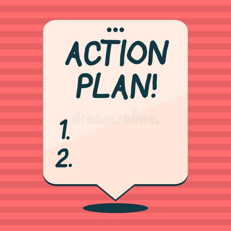 Note d'écriture montrant le plan d'action Photo d'affaires présentant la stratégie ou la ligne de conduite proposée pendant certa illustration libre de droits