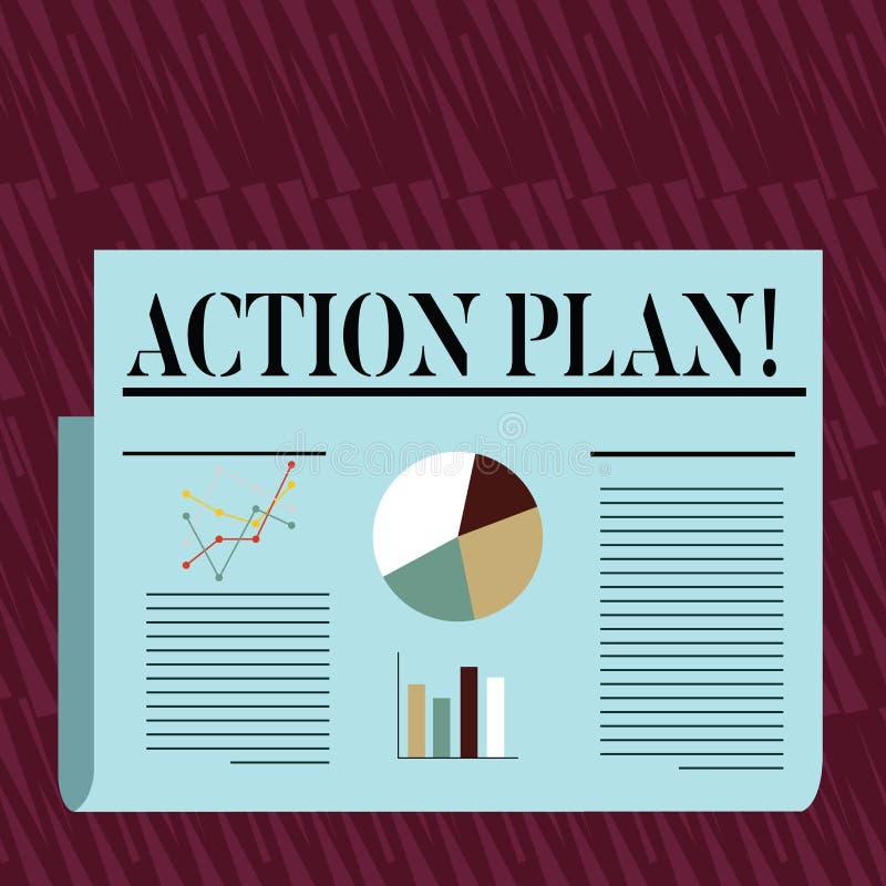 Note d'écriture montrant le plan d'action Photo d'affaires présentant la stratégie ou la ligne de conduite proposée pendant certa illustration de vecteur