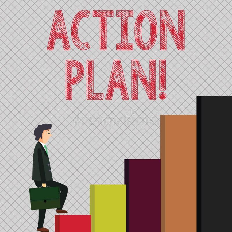 Note d'écriture montrant le plan d'action Photo d'affaires présentant la stratégie ou la ligne de conduite proposée pour certain  illustration de vecteur