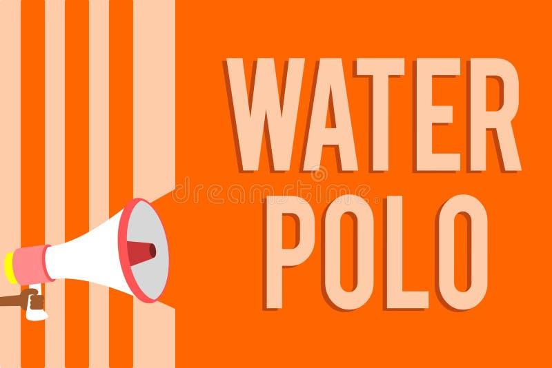 Note d'écriture montrant le polo d'eau La photo d'affaires présentant le sport collectif concurrentiel a joué dans l'eau entre le illustration libre de droits
