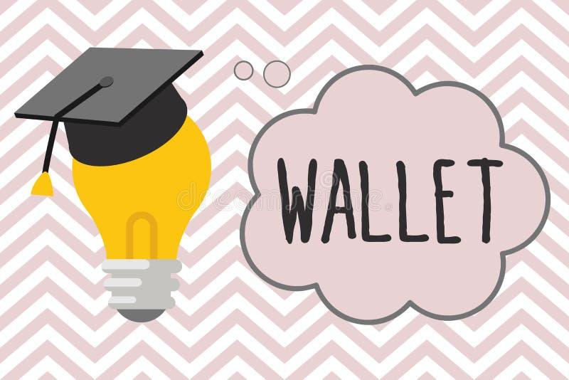 Note d'écriture montrant le portefeuille Photo d'affaires présentant le point de droit se pliant plat de poche pour tenir des car illustration de vecteur