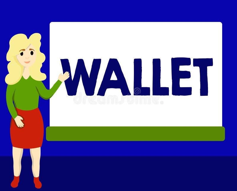 Note d'écriture montrant le portefeuille Photo d'affaires présentant le point de droit se pliant plat de poche pour tenir des car illustration libre de droits