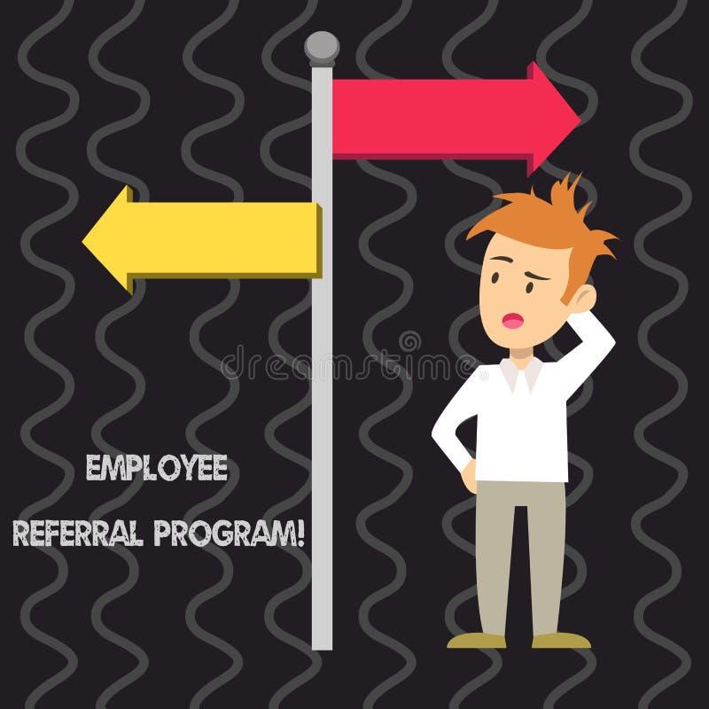 Note d'écriture montrant le programme de référence des employés Photo d'affaires présentant la méthode interne de recrutement uti illustration de vecteur