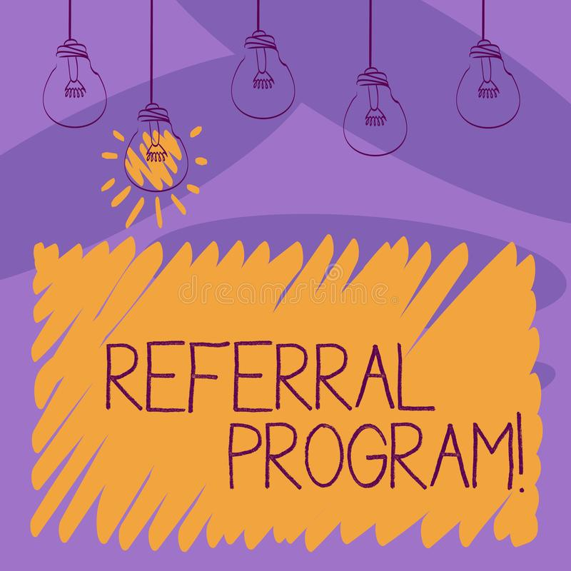 Note d'écriture montrant le programme de référence Photo d'affaires présentant la méthode interne de recrutement utilisée par des illustration stock