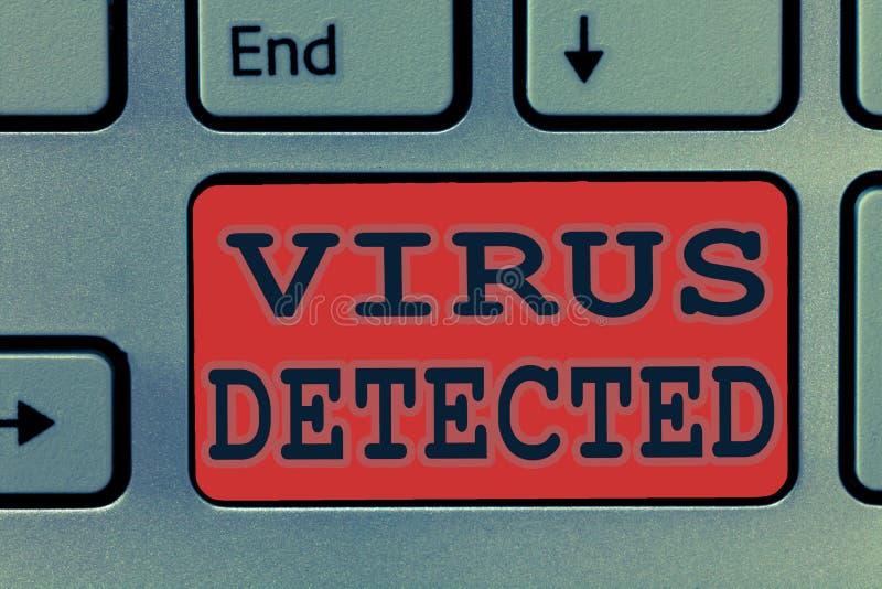 Note d'écriture montrant le virus détecté Photo d'affaires présentant le programme informatique d'A employé pour empêcher et enle photos stock