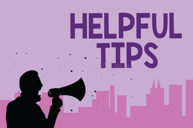 Note d'écriture montrant les astuces utiles Photo d'affaires présentant des conseils secrets utiles de l'information donnés pour  illustration de vecteur
