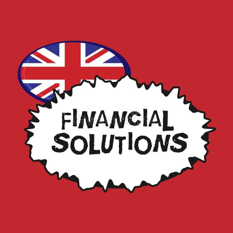 Note d'écriture montrant les solutions financières Photo d'affaires présentant pour épargner l'argent sur les besoins d'assurance illustration stock