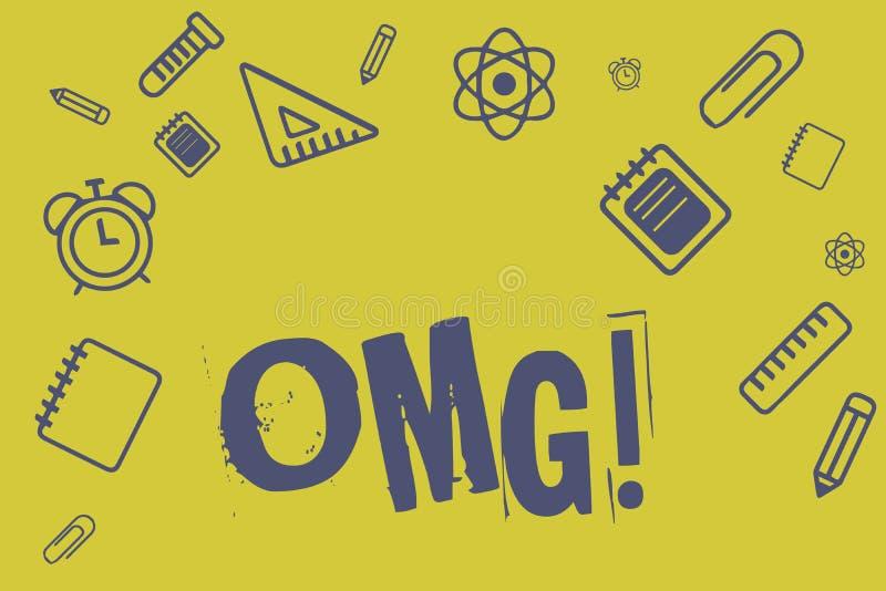 Note d'écriture montrant Omg La présentation de photo d'affaires employée pour exprimer l'incrédulité SMS d'excitation de choc a  illustration stock