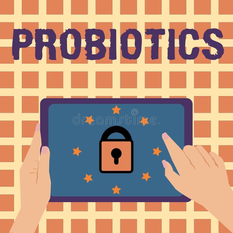 Note d'écriture montrant Probiotics Photo d'affaires présentant le micro-organisme vivant de bactéries accueilli dans le corps po illustration stock