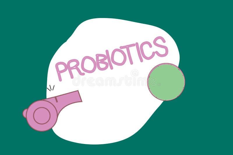 Note d'écriture montrant Probiotics Photo d'affaires présentant le micro-organisme vivant de bactéries accueilli dans le corps po illustration libre de droits