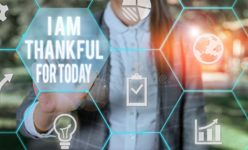 Note d'écriture montrant que je suis reconnaissant pour aujourd'hui Photo d'entreprise montrant Grateful sur la vie d'un jour de  photographie stock libre de droits