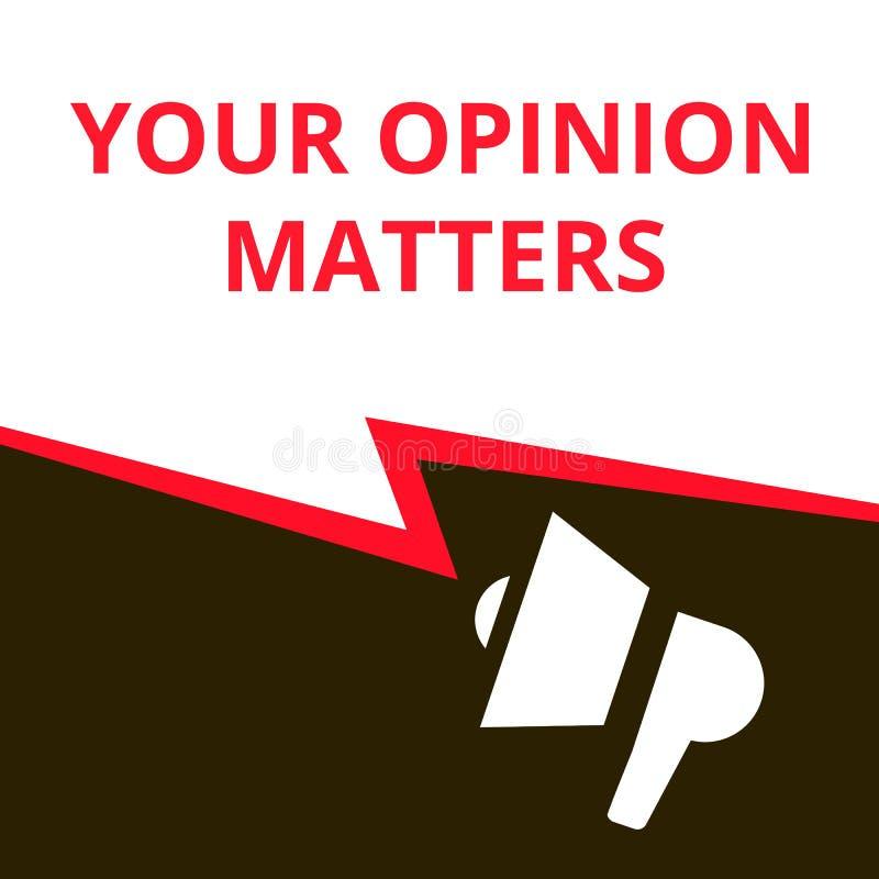 Note d'écriture montrant vos sujets d'opinion illustration stock