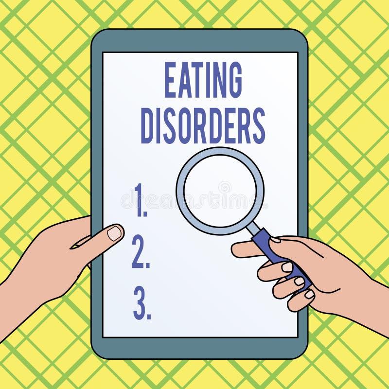 Note d'?criture montrant des troubles de la nutrition Photo d'affaires pr?sentant quelles d'une gamme des habitudes alimentaires  illustration de vecteur