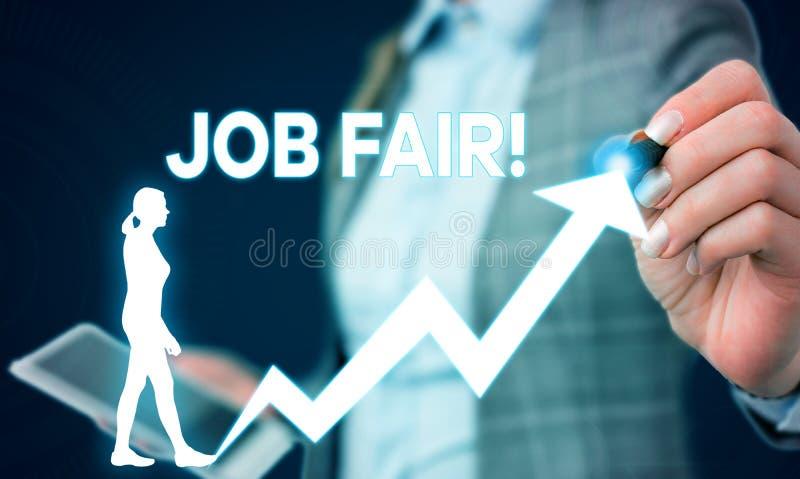 Note d'?criture montrant Job Fair ?v?nement de pr?sentation de photo d'affaires dans ? quels recruteurs d'employeurs fournissez l photos libres de droits