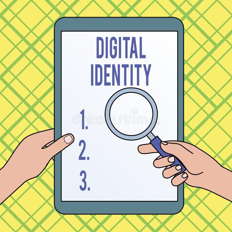 Note d'?criture montrant l'identit? de Digital L'information de pr?sentation de photo d'affaires sur l'entit? employ?e par ordina illustration stock
