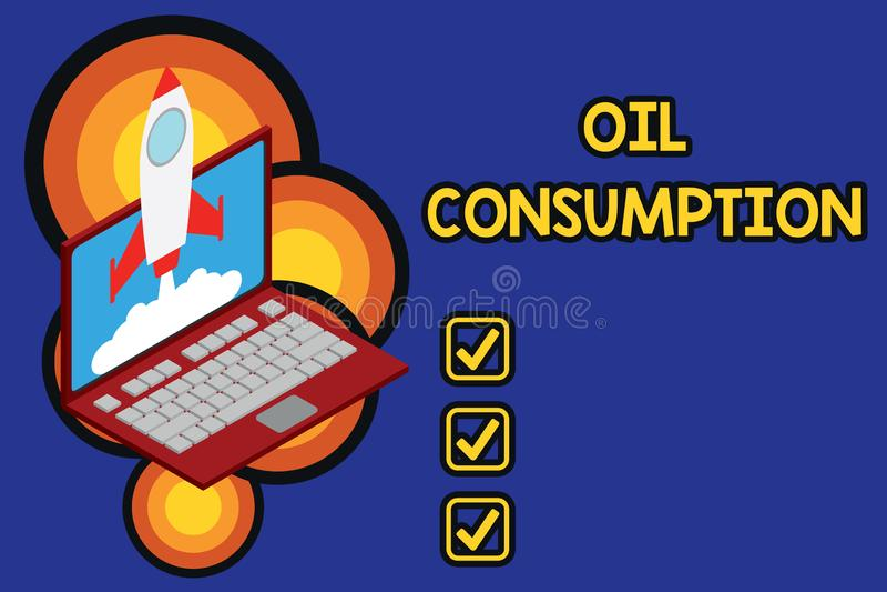 Note d'?criture montrant la consommation p?troli?re La photo d'affaires pr?sentant cette entr?e est toute l'huile consomm?e dans  illustration de vecteur