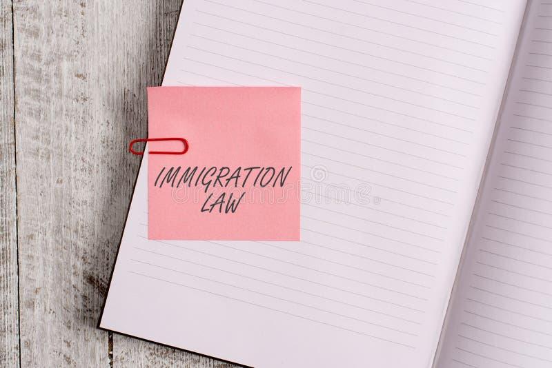 Note d'?criture montrant la loi d'immigration L'émigration de présentation de photo d'affaires d'un citoyen sera légale dans la f images libres de droits