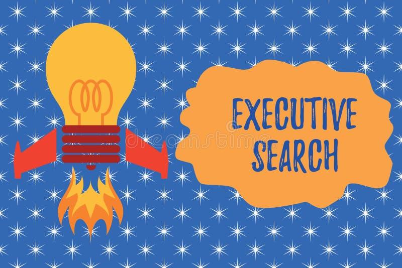 Note d'?criture montrant la recherche ex?cutive Les entreprises de services de présentation de recrutement de photo d'affaires pa illustration stock