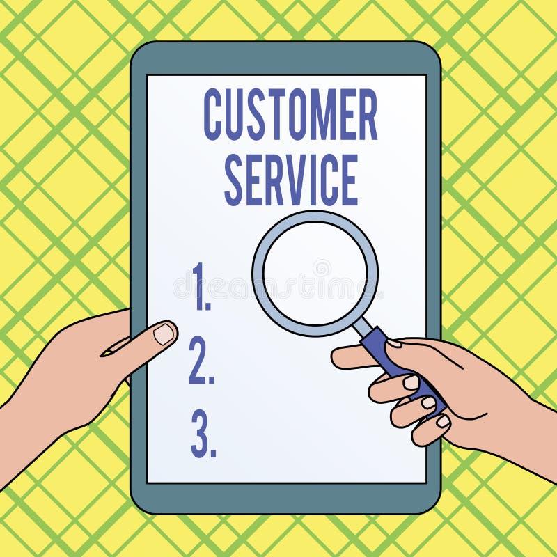 Note d'?criture montrant le service client Processus de pr?sentation de photo d'affaires d'assurer la satisfaction de client avec illustration libre de droits