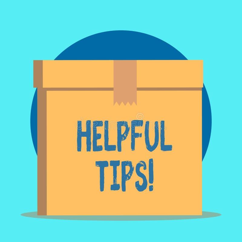 Note d'?criture montrant les astuces utiles Conseils de présentation de photo d'affaires donnés pour être la connaissance utile d illustration de vecteur