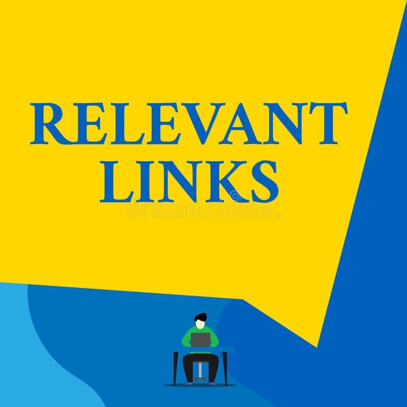 Note d'?criture montrant les liens appropri?s La photo d'affaires présentant les sites significatifs pour un sujet particulier a  illustration de vecteur