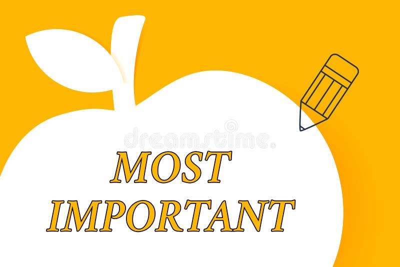 Note d'?criture montrant plus important Photo d'affaires présentant la quantité du plus grand ou le plus élevé degré ou analogues illustration stock