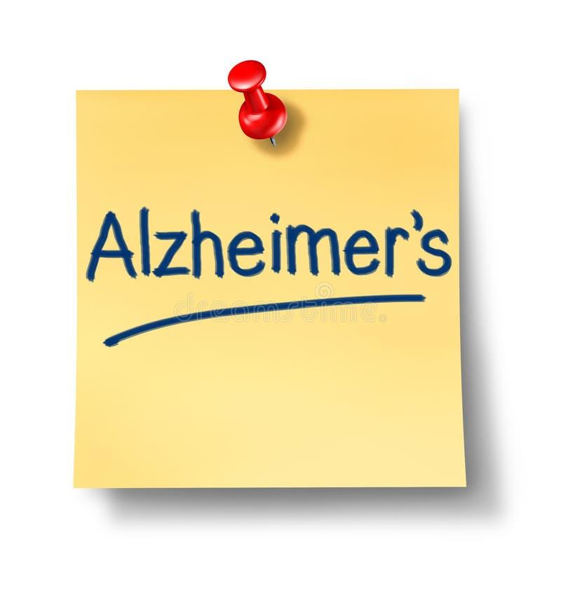 Note de bureau de rappel d'Alzheimer illustration de vecteur