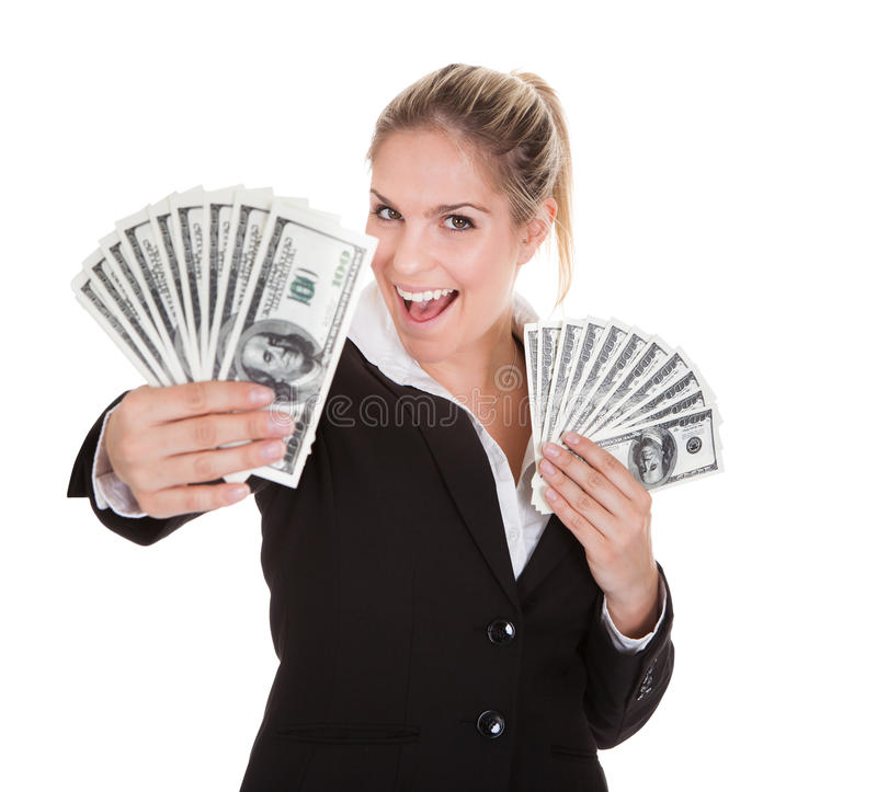 Note de Holding Us Dollar de femme d'affaires image libre de droits