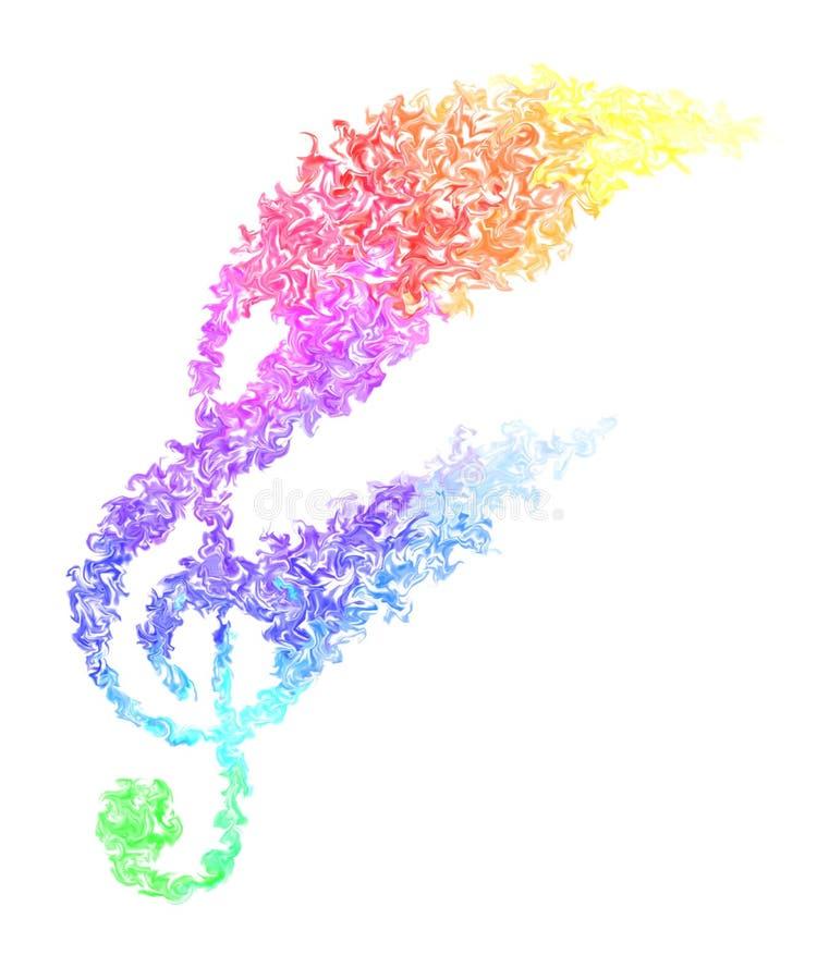 Note de musique - couleurs enduites de palpitation d'arc-en-ciel, conception du feu et mouvement mobile illustration de vecteur
