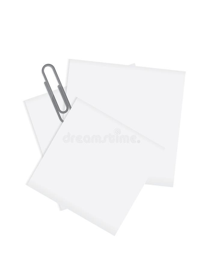 Note de papier avec un trombone gris au-dessus d'un dos de blanc image libre de droits