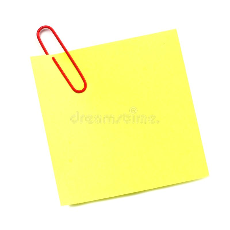 Note de post-it d'isolement photographie stock libre de droits