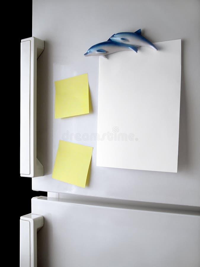 Note de réfrigérateur photos stock