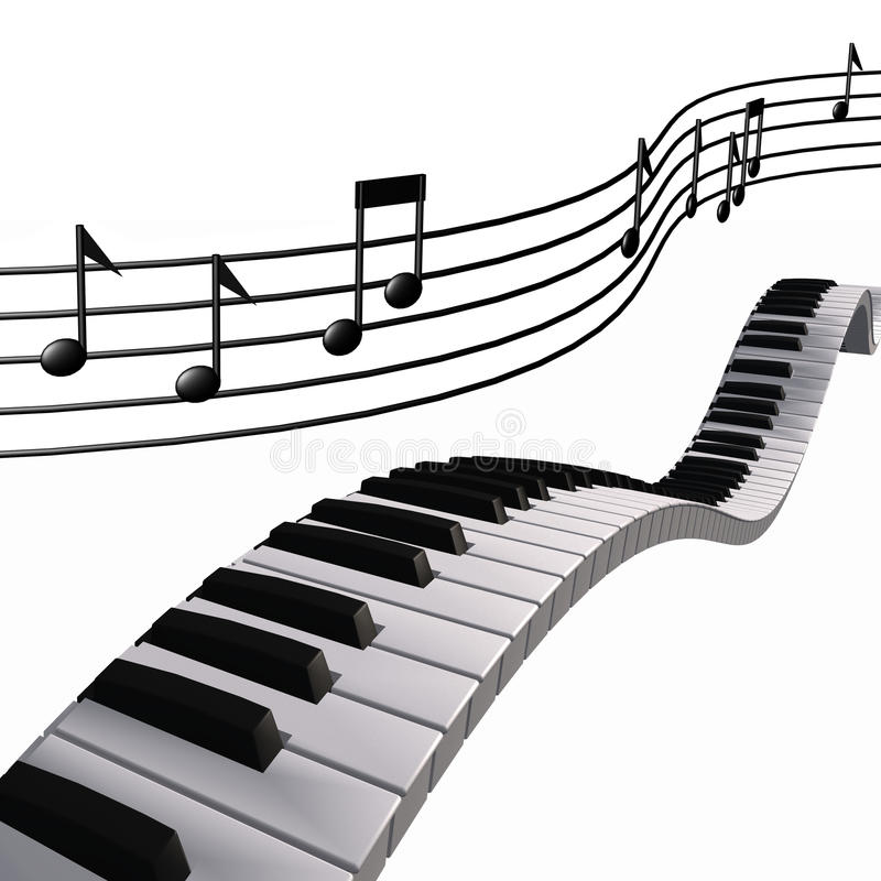 Note del piano di musica nel cielo royalty illustrazione gratis