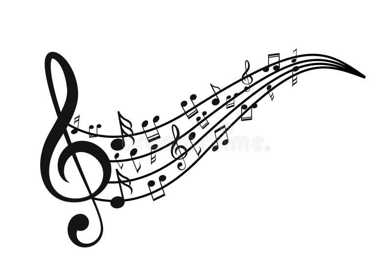 Note di musica con le onde illustrazione di stock