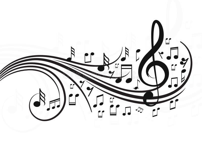 Note di musica con le onde royalty illustrazione gratis