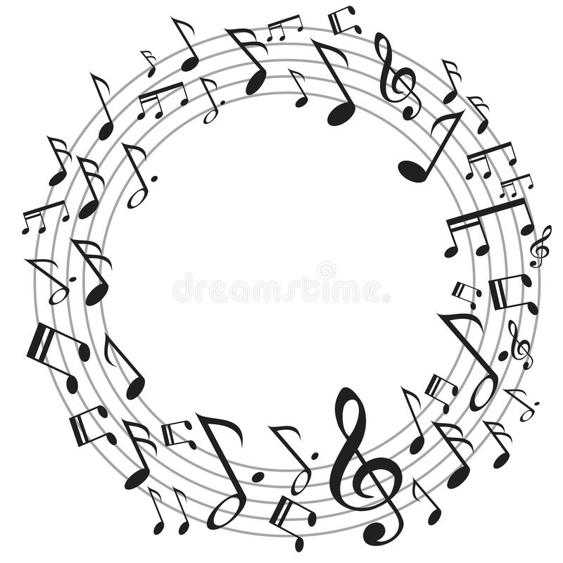 Note di musica del cerchio illustrazione vettoriale