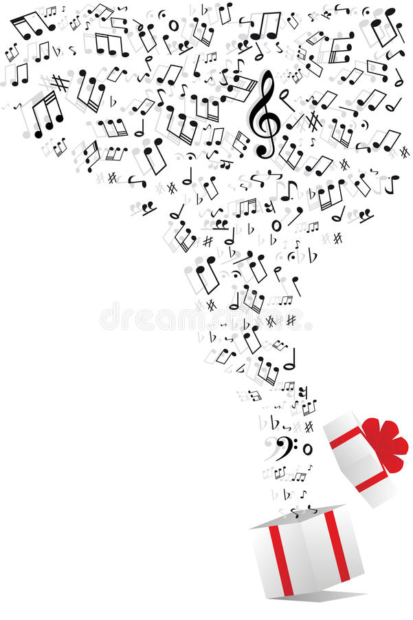 Note di musica e contenitore di regalo illustrazione di stock