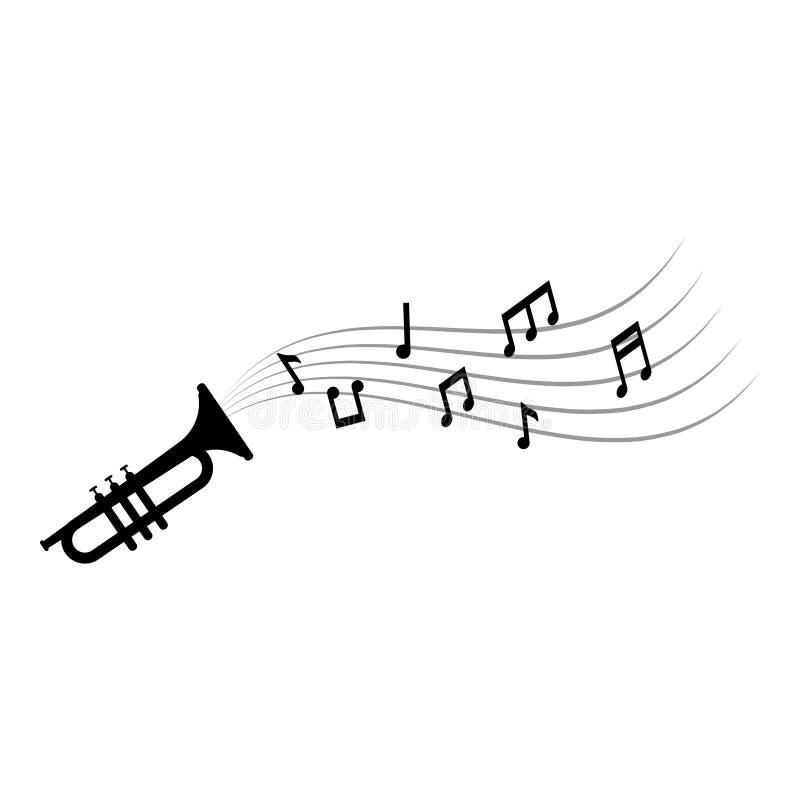 Note di musica e suonare la tromba illustrazione di vettore del modello di progettazione grafica illustrazione di stock
