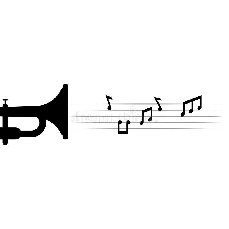 Note di musica e suonare la tromba illustrazione di vettore del modello di progettazione grafica royalty illustrazione gratis