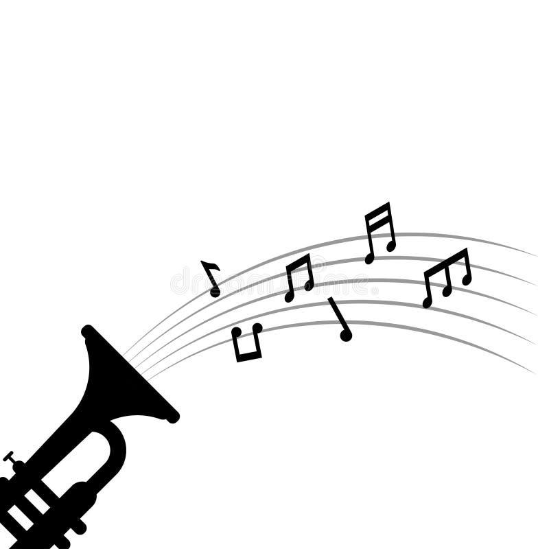 Note di musica e suonare la tromba illustrazione di vettore del modello di progettazione grafica illustrazione vettoriale