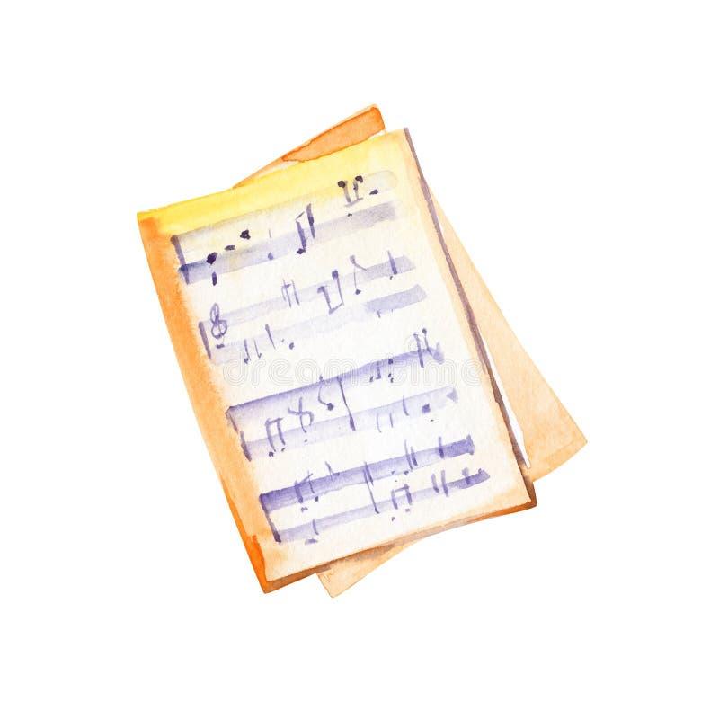 Note di musica isolate illustrazione dell'acquerello su fondo bianco illustrazione vettoriale