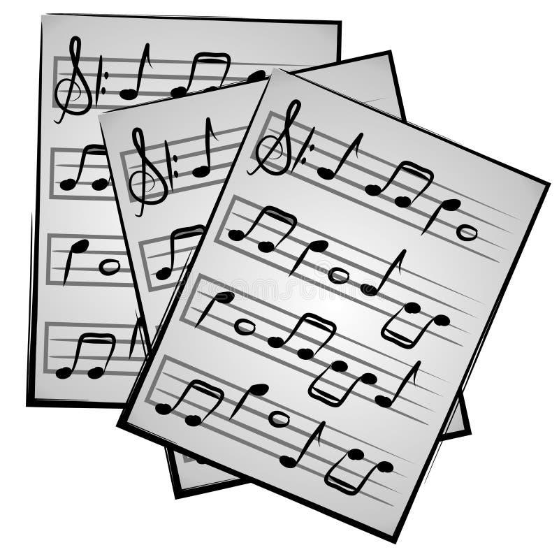 Note di musica su Clipart di carta illustrazione di stock